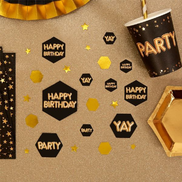 Glitz & Glamour Black & Gold Confetti Scatters Happy Birthday (100)